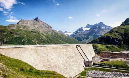 panoramatic: landscape at the silvretta reservoir in austria
