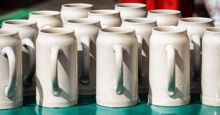 pewter mug: group of mugs at a bavarian beergarden