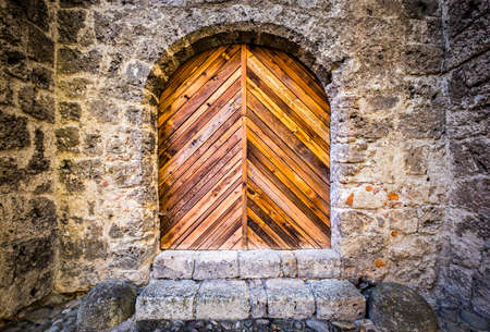 old wooden door: beautiful old wooden door - close-up