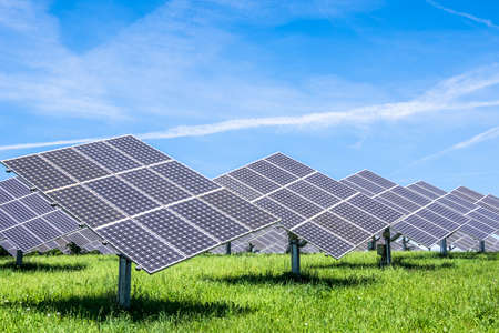 solarcell: modern Solar Panels in front of blue sky