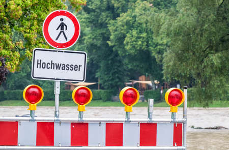 flood warning sign in germany