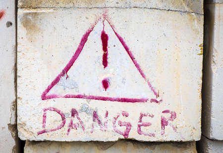 exclamation point: old danger sign with Exclamation Point