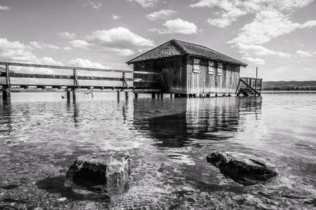 wooden hut: old wooden hut at a lake