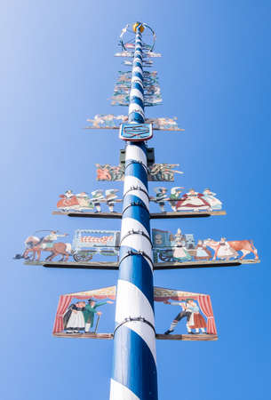 maypole: typical bavarian maypole - closeup - photo Stock Photo