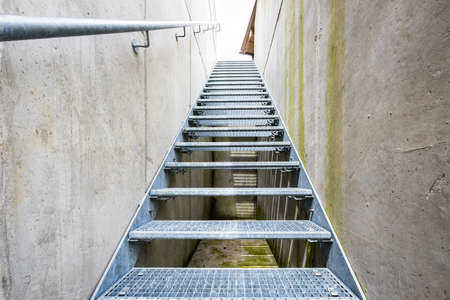 emergency exit: modern staircase at an emergency exit