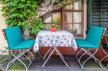 table at a sidewalk restaurant Stock Photo