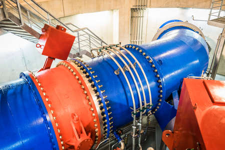 hydro electric power station: modern turbine at a power station
