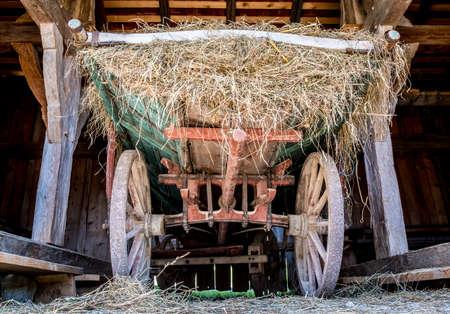 old wood farm wagon: old cart at a farm