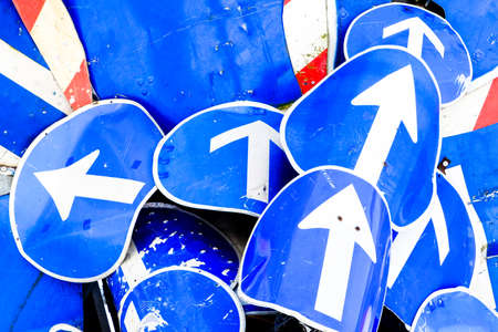 one lane road sign: arrow signs - german road signs Stock Photo