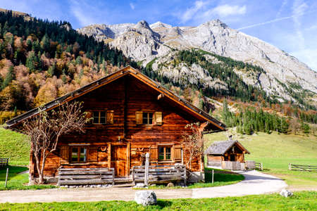 old farmhouse at the eng alm in austria - karwendel mountains