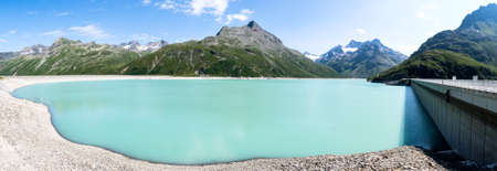 landscape at the silvretta reservoir in austria