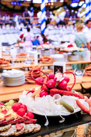typical meal at the oktoberfest in munich Stock Photo