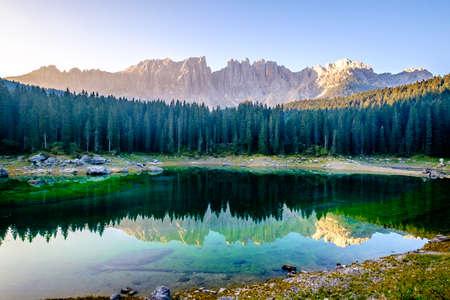 karerlake in italy - Lago di Carezza - at the background the dolomites