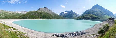 landscape at the silvretta reservoir in austria