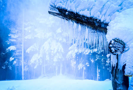 icicles at a hut in winter
