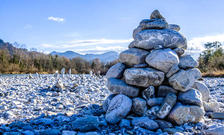 rock stack at a river bed