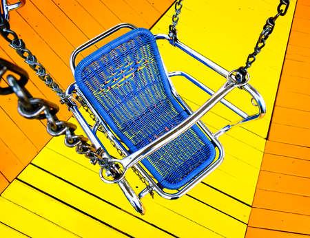 chain swing ride: old chairoplane seat - chain carousel