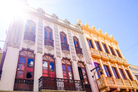 spanish architecture: typical old spanish facade - tenerife - canary island