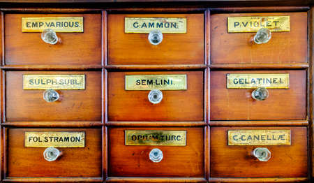 furniture store: old filing cabinet - pharmacy - latin labels