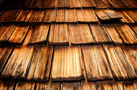 old wooden shingles at a hut - nice background Stock Photo
