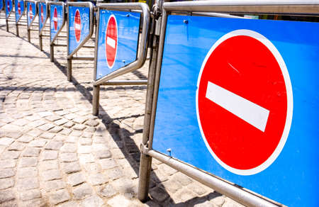 security barriers in a row - closeup - photo Stock Photo