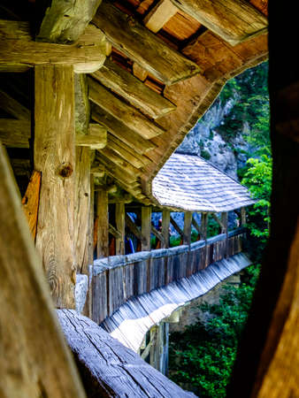 beautiful old wooden covered bridge Stock Photo