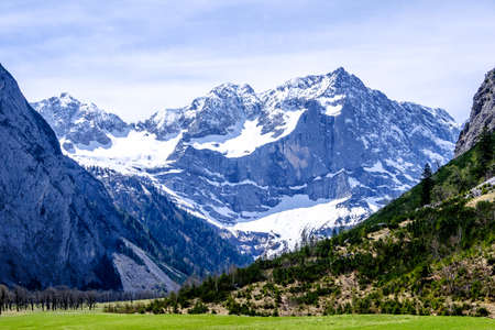 karwendel mountains in austria - small valley called eng alm