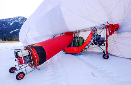blimps: cabin of a hot air airship at the startup