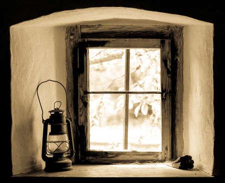 oillamp: oil lamp at a window