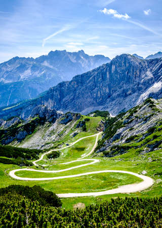 zugspitze mountain - european alps - footpath Stock Photo