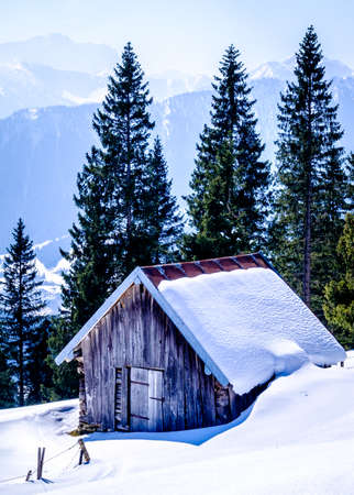 old house at the european alps in winter Stok Fotoğraf
