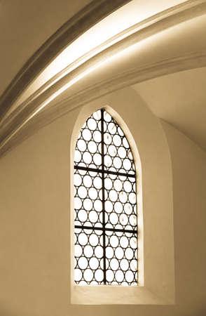 old brick wall: old window at a church
