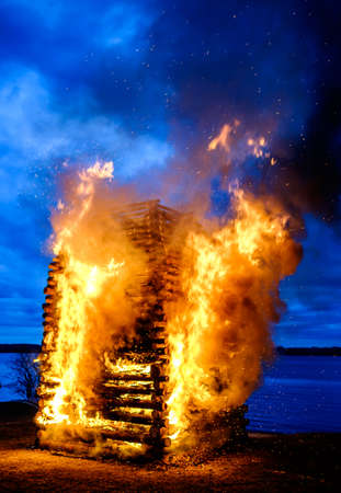 traditional easter fire at a lake in germany