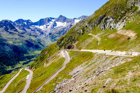 country road at the european alps Stock Photo