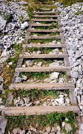 weathered: old wooden ladder at a mountain