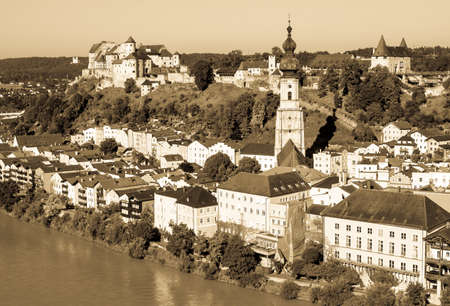 popular: famous old town of burghausen - bavaria - germany