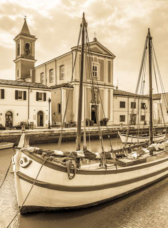 old town and harbor of cesenatico - italy Stock Photo