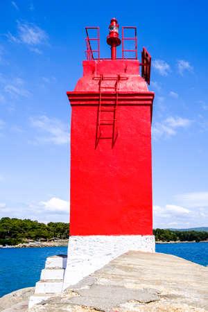 old beacon at a harbor in croatia