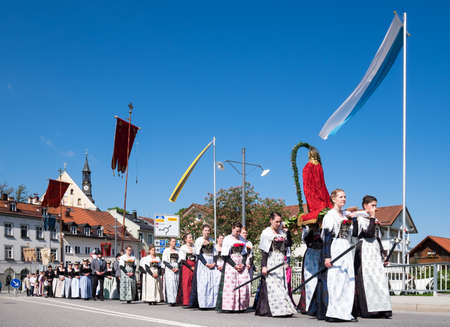 BAD TOELZ, GERMANY - MAY 26 - People in traditional costumes at the Corpus Christi procession at May 26, 2016 in Bad Toelz - Germany. Editorial