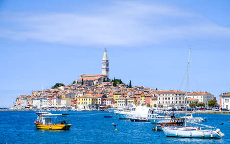 old town and harbor of rovinj in croatia Stock Photo