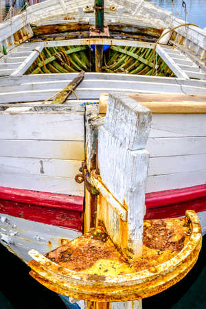 ruder: old fishing boat at a harbor Lizenzfreie Bilder