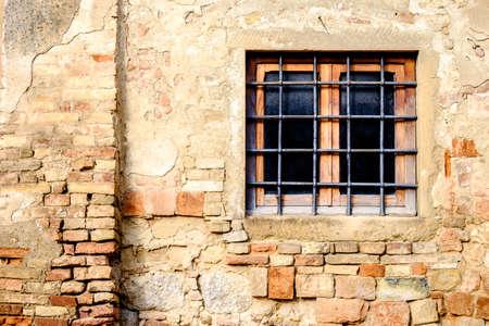 rundown: old rundown window at a ruin