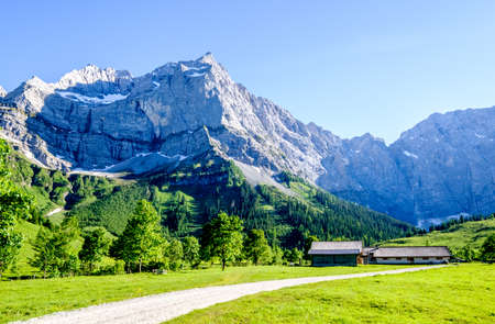 karwendel mountains in austria - small valley called engalm