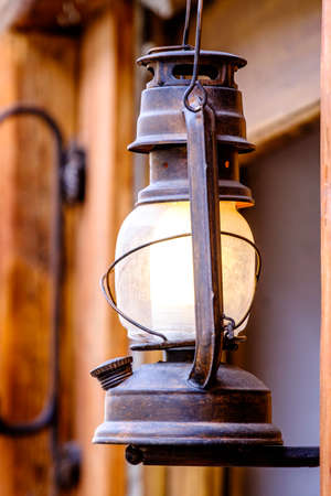 oil lamp: old lamp at the ceiling Stock Photo