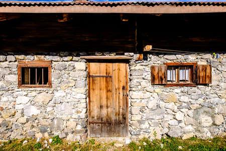 old wooden door at a hut