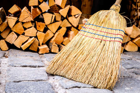 group of old fashioned brooms Standard-Bild