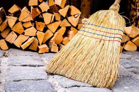 group of old fashioned brooms Archivio Fotografico