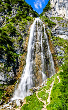 dalfazer waterfall at the achensee lake in austria