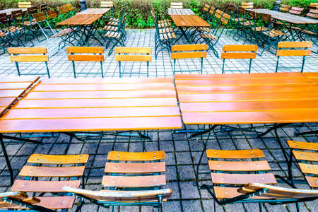 old photo: folding chairs at a typical bavarian beergarden