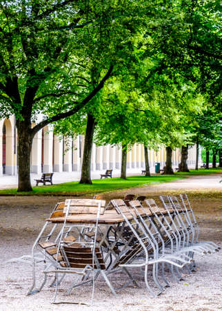 Bavarian Beergarden - Table And Benches At A Tent Stock Photo ...